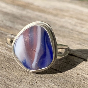 Pink, white and blue Davenport multicolor sea glass ring