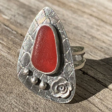 Load image into Gallery viewer, Red Davenport sea glass rose ring