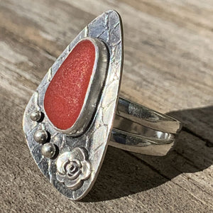 Red Davenport sea glass rose ring