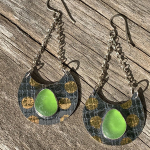 Polka dot green sea glass earrings