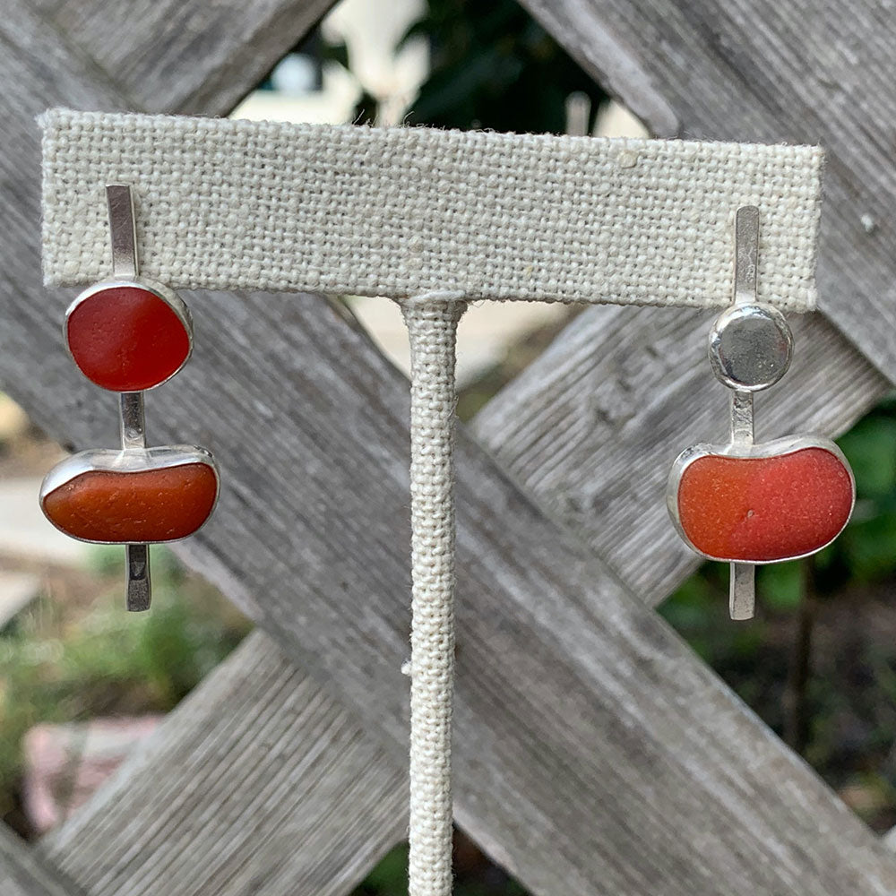 Davenport red and orange sea glass earrings