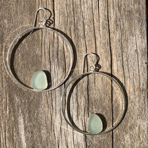 Sea Foam Hippy Hoop Earrings