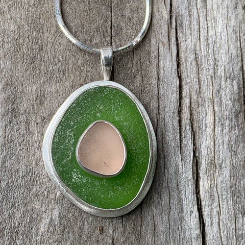 Pink and Green Sea Glass Pendant