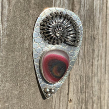 Load image into Gallery viewer, Burgundy Nautilus Pin