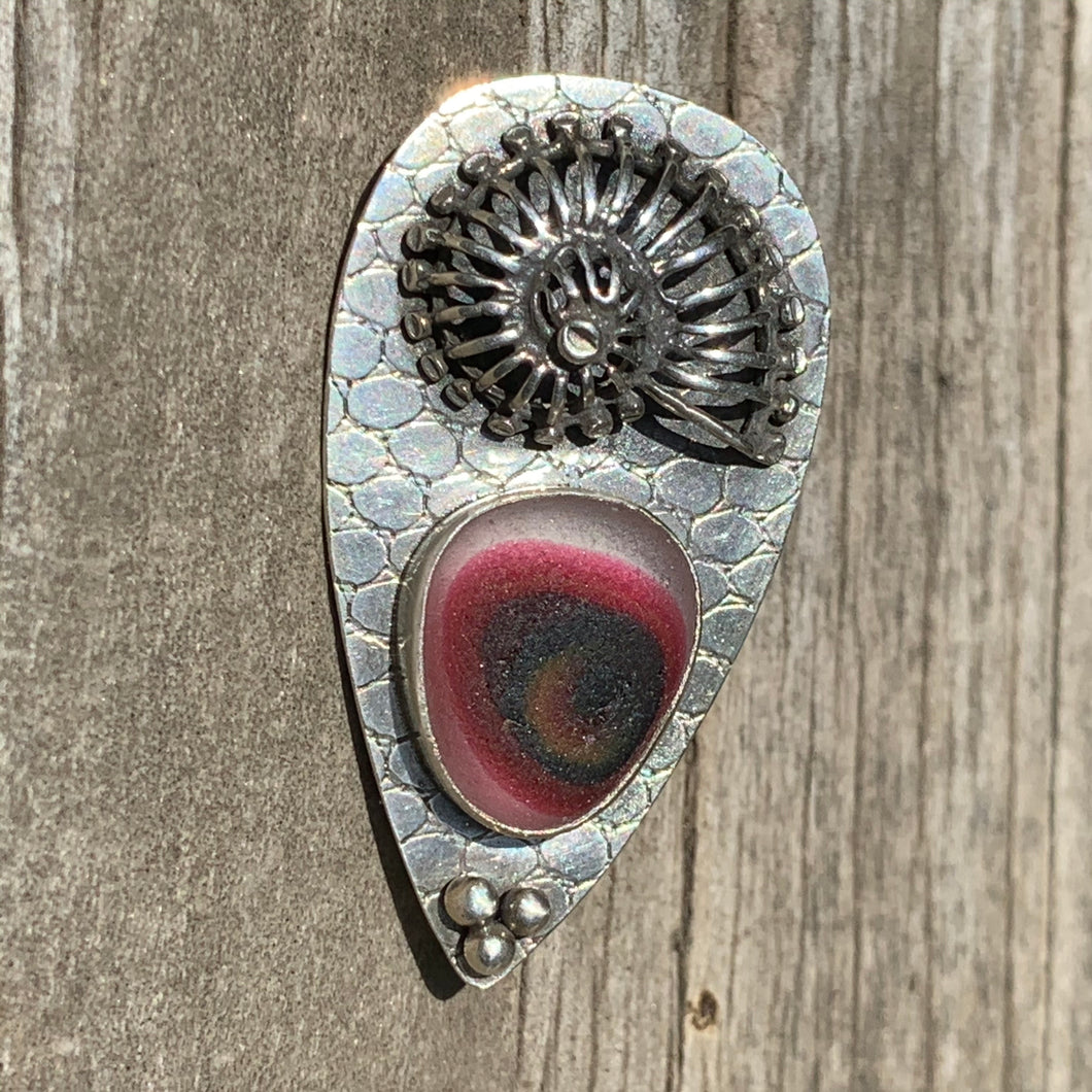 Burgundy Nautilus Pin