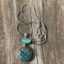 Load image into Gallery viewer, Teal Mermaid Scale Pendant