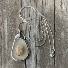 Load image into Gallery viewer, Fossilized Coral and Sea Glass Pendant