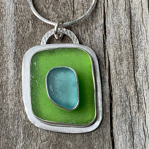 Turquoise and Green Sea Glass Pendant