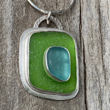 Load image into Gallery viewer, Turquoise and Green Sea Glass Pendant