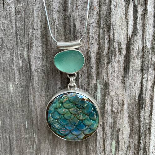 Mermaid Scale Fused Glass and Sea Glass Pendant