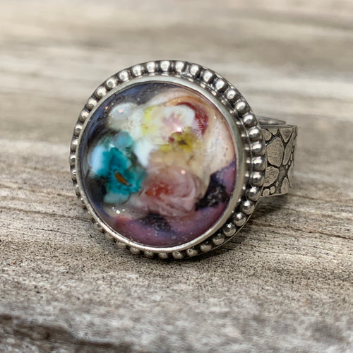 Floral Lamp Work Glass Ring