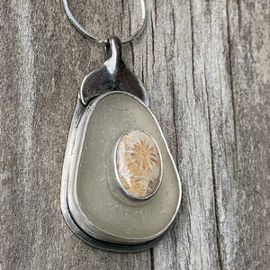 Fossilized Coral and Sea Glass Pendant