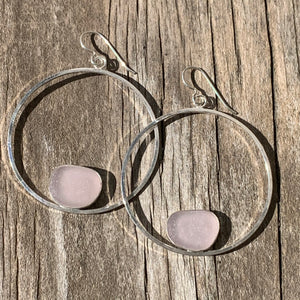 Lavender Hippy Hoop Earrings