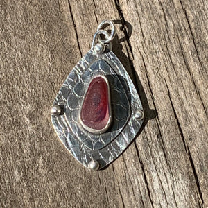 Cherry Red Multi Shield Pendant/ Necklace