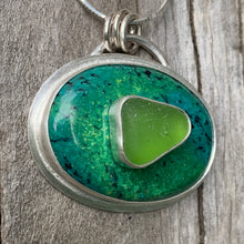 Load image into Gallery viewer, Stone on Stone Lime and Turquoise Pendant