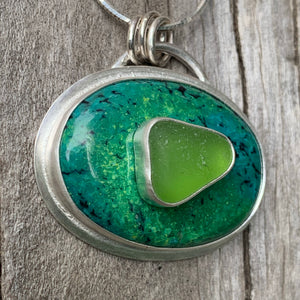Stone on Stone Lime and Turquoise Pendant