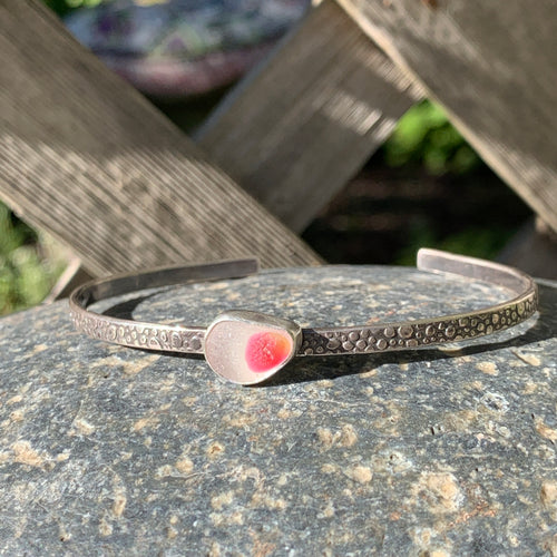 Rose and Clear Teardrop Mini Cuff