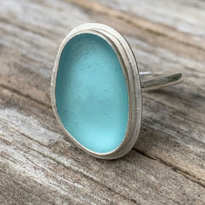 Teal Japanese sea glass ring