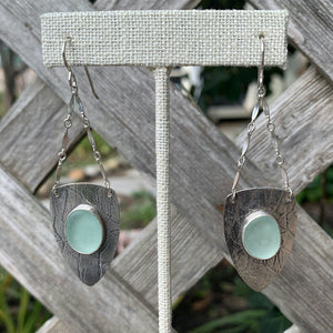 Sea foam shield sea glass earrings