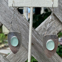 Load image into Gallery viewer, Sea foam shield sea glass earrings
