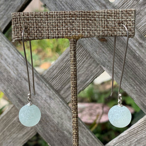 Seaham sea glass Codd marble earrings