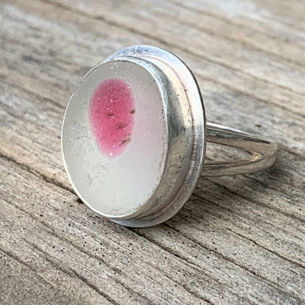 Seaham sea glass pink polka dot ring