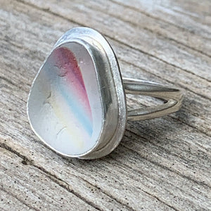 Seaham rainbow sea glass ring