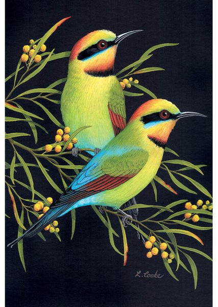 Card Rainbow Bee-Eater and Wattle
