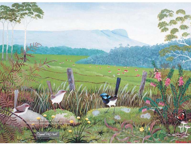 Card Tasmanian Landscape and Blue Wrens