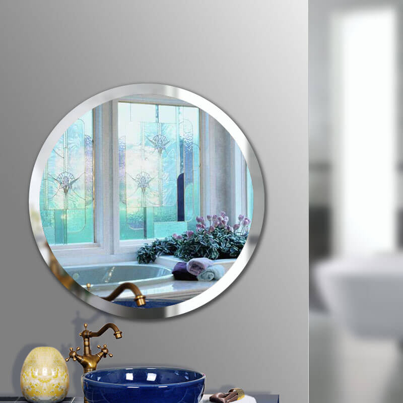 Round Beveled Frameless Wall Mirrors