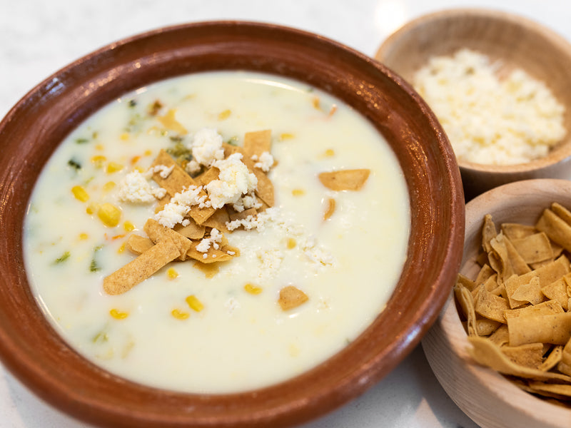 Squash Blossoms, Corn and Roasted Poblano Soup