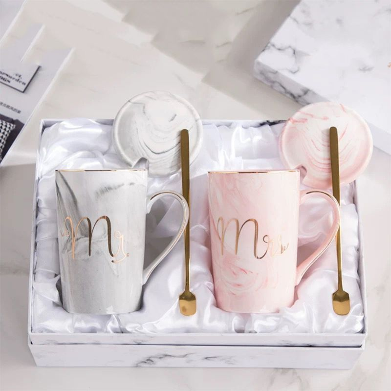 Mr and Mrs Marble Style Ceramic Mug Set Anniversary Wedding Gift