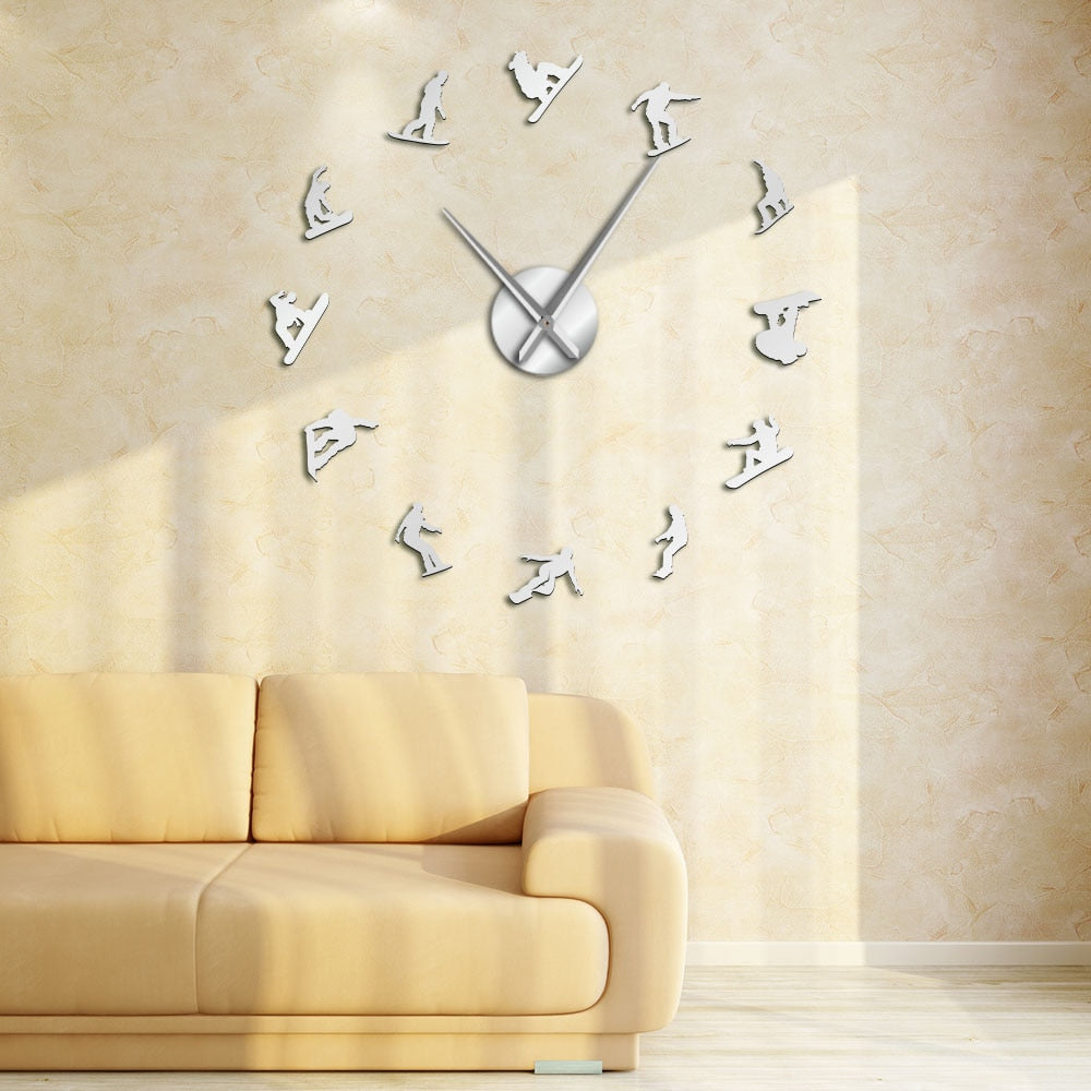 Winter Sport Snowboarding Large Frameless DIY Wall Clock