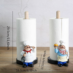 Resin Chef Double Layer Paper Towel Holder Figurines