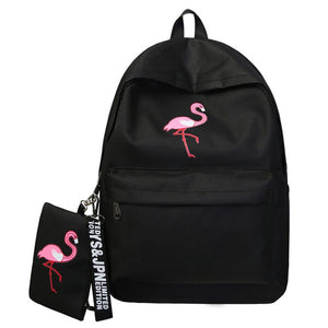 Lovely Flamingo Canvas School Bag Backpack