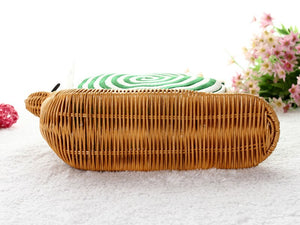 Green Snail Shape Rattan Straw Woven Shoulder Bag Handbag