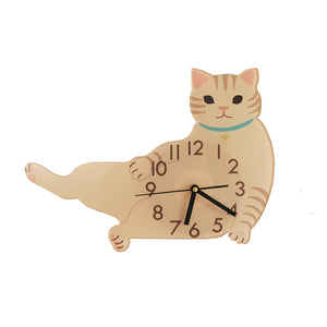 Cartoon White Calico Cat Children's Room Wall Clock
