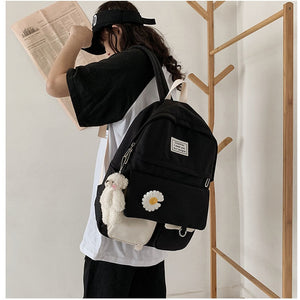 Cute Daisy Flower Nylon School Bag Backpack for Teenage Girls