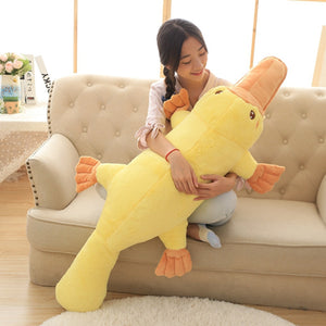 Cute Yellow Platypus Lying Plush Stuffed Cushion Pillow Doll Gift