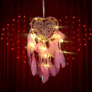 Love Heart Shape LED Night Light Dreamcatcher with Feather
