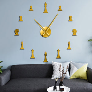 Chess Pieces Board Game Large Frameless DIY Wall Clock