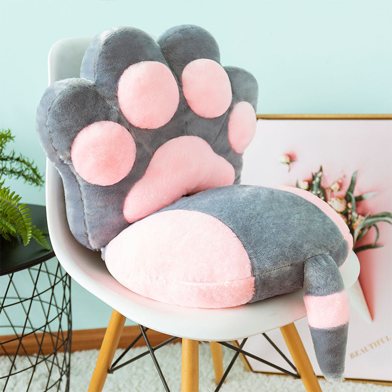 2 Pcs/Set Cats Claw Pillow Paw Back Plush Cushion Seat with Tail