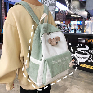 Cute Mouse Plush Embroidery Stripe Corduroy Backpack School Bag
