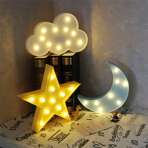 Cute Cloud Star Moon LED Light Night Lamp for Bedroom Decoration