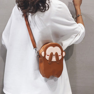 Cute See No Evil Brown Monkey Design Mini Leather Purse Shoulder Bags