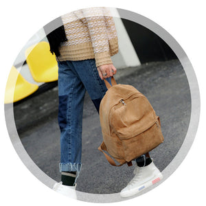 Retro Solid Color Corduroy Backpack Bookbag