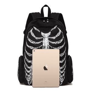 Black Gothic Skeleton Printed Backpack
