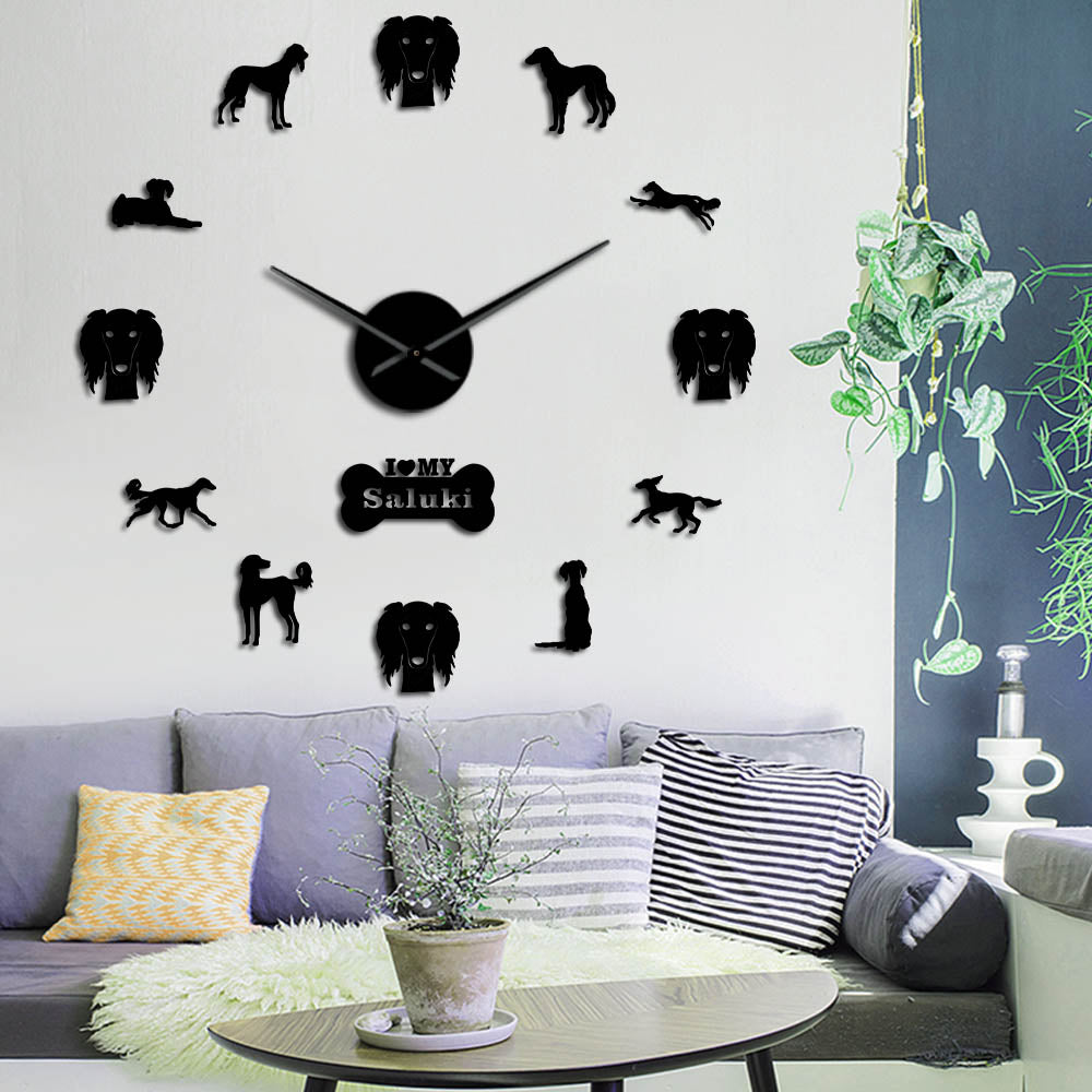 Saluki Dog Large Frameless DIY Wall Clock