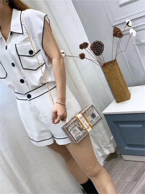 Luxury USD Dollar Money Design Crystal Evening Purse Shoulder Bag