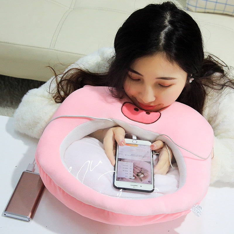 3 in 1 Transparent Film Plush Pillow Phone Hand Warmer with Flannel Blanket